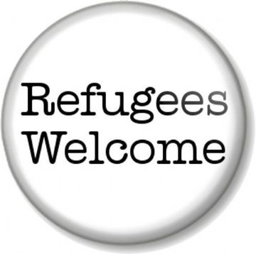 Refugees Welcome Pinback Button Badge Anti War Political Protest Peace Asylum - White